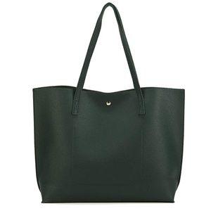Handbags - Genuine Leather Tote Bag - Pebbled Dark Green